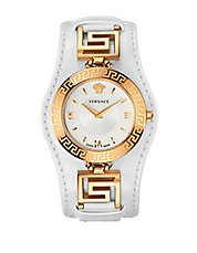 Ladies Signature Goldtone Leather Watch