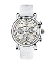 Ladies Day Glam Silvertone Leather Chronograph Watch
