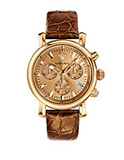 Ladies Goldtone Chronograph Watch with Alligator Calf Strap