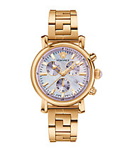 Ladies Goldtone Stainless Steel Chronograph Watch