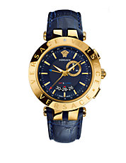 Mens V-Race Goldtone Stainless Steel Blue Leather Strap Watch