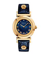Ladies Vanity Goldtone Stainless Steel Blue Leather Strap Watch
