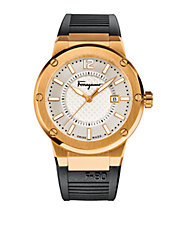Mens F-80 Rose Goldtone Stainless Steel Rubber Strap Watch