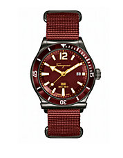 Mens 1898 Rust Stainless Steel and Nylon Strap Watch