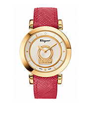 Ladies Minuetto Gold-Tone and Saffiano Leather Strap Watch