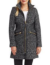 Faux Leather Accented Tweed Coat