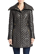 Exaggerated-Collar Quilted Coat