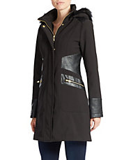 Hooded Faux Fur-Lined Leatherette-Trim Jacket