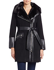 Leathertte and Faux Fur-Trimmed Coat