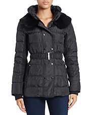 Quilted Rabbit Fur-Collared Puffer Coat