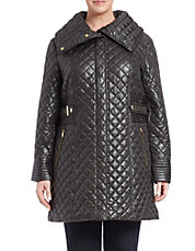 Plus Envelope-Collared Quilted Coat
