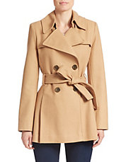 Fitted Wool-Blend Trench Coat