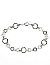 Sterling Silver and Crystal Link Bracelet