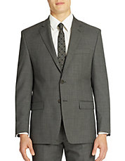 Classic Fit Grey Sharkskin 2 Button Blazer