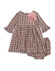Baby Girls Two-Piece Knit Dress And Bloomers Set