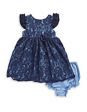Baby Girls Two-Piece Lace Dress And Bloomers Set