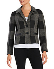 Leatherette-Accented Jacket