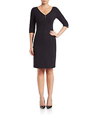Long-Sleeve Zip Sheath Dress