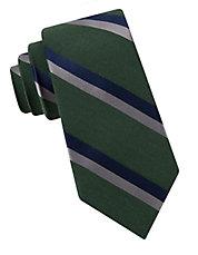 Double Stripe Wool And Silk Tie