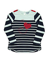 Girls 2-6x Striped Heart Tee