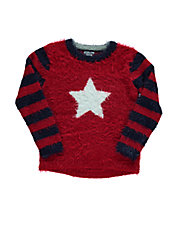 Girls 2-6x Fuzzy Star Sweater