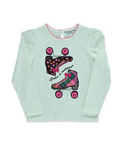 Girls 2-6x Roller Skate Appliqued Top