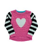 Girls 2-6x Girls 2-6x Heart-Print Knit Pullover