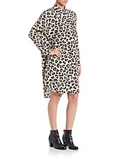 Ocelot-Print Stretch Silk Oversized Shirtdress