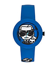 Ladies Black and Blue Karl Print Watch