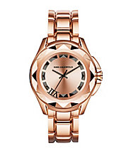 Unisex Karl 7 Rose Goldtone Pyramid Stud Watch