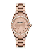 Ladies Rose Goldtone Petite Stud Watch