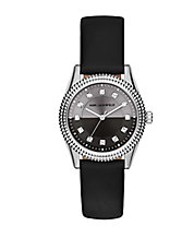 Petite Stud Black Leather Strap Watch