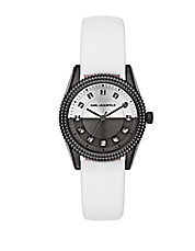 Petite Stud White Leather Strap Watch