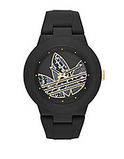 Matte Black Silicone and Goldtone Logo-Print Watch