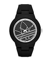 Matte Black Silicone and Silvertone Logo-Print Watch
