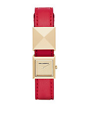 Demi Stud Red Leather Strap Watch