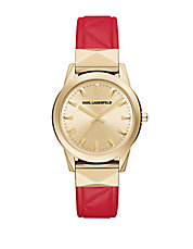 LaBelle Stud Red Leather Strap Watch
