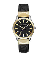 LaBelle Stud Black Leather Strap Watch