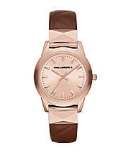 LaBelle Stud Brown Leather Strap Watch