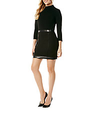 Faux Leather-Accented Sheath Dress