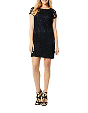 Faux Leather-Trimmed Lace Dress