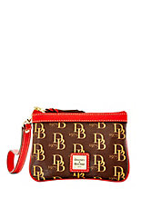 Signature Leather-Trim Medium Wristlet
