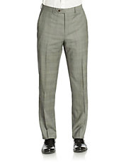 Flat Front Grid Patterned Dress Pants