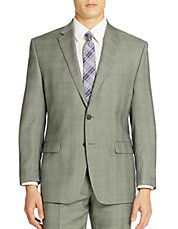 Grid Patterned Wool Suit Jacket