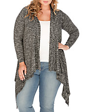 Plus Marled Open Front Cardigan