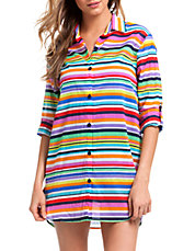 Striped Boyfriend Shirt Cover-Up