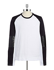 Faux-Leather Raglan Tee