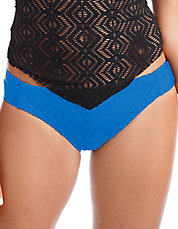 Crocheted Shirred Tab Hipster Swim Bottoms