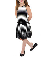 Girls 2-6x Striped Lace Trim Dress