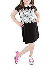 Girls 2-6x Lace Inset Collared Dress